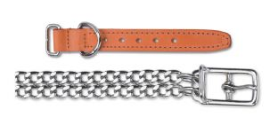 Ancol Leather & Chain Dog Collar - Size 2